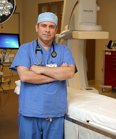 Dr. George Moukarbel performed Robert Gayer's percutaneous closure of a mitral paravalvular leak, the first at The University of Toledo Medical Center.