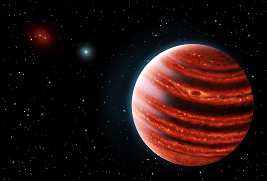 This is an artistic conception of the Jupiter-like exoplanet 51 Eridani b, with the hot layers deep in its atmosphere glowing through the clouds. Because of its young age, this cousin of Jupiter is still hot and carries information on the way it was formed 20 million years ago. Dr. Adam Schneider, a UT astronomy postdoctoral research associate, is among scientists to discover the exoplanet. The image was created by Danielle Futselaar and Franck Marchis of the Search for Extraterrestrial Intelligence Institute.