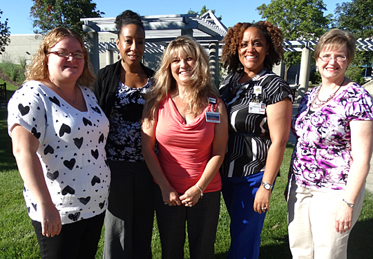 Documentation improvement specialists at UT Medical Center are, from left,  Megan Burtscher, Carmen Clarke Davis, Holly Hill, Kita Fleming and Jenny Blandford.