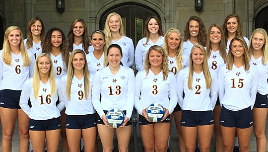The 2015 UT volleyball team posed for a photo in front of University Hall.