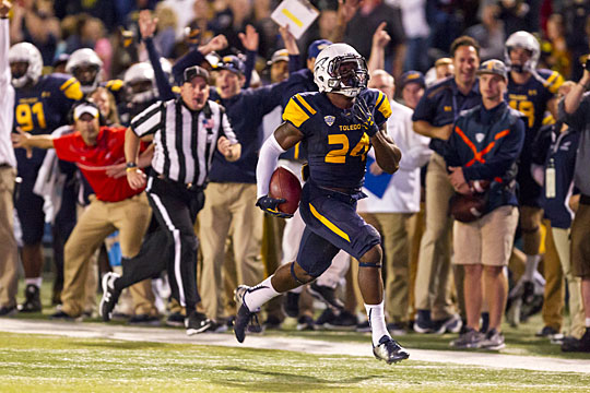 Senior safety Rolan Milligan returned an interception 36 yards for a touchdown in Toledo's win over Arkansas State Sept. 26.