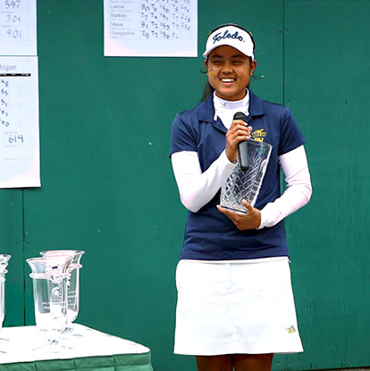 Sathika Ruenreong carded a two-stroke victory at Michigan State's Mary Fossum Invitational in East Lansing.