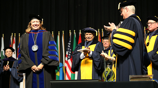 Dr. Sharon L. Gaber was inaugurated as UT's 17 president Sept. 25 in Savage Arena.