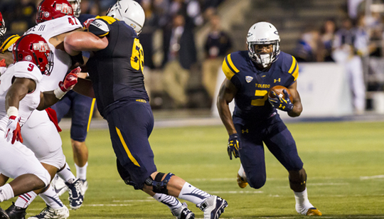 Running back Terry Swanson scored two touchdowns for the Rockets in the victory over Arkansas State in the Glass Bowl.