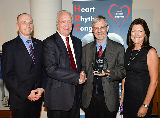 On behalf of the British Heart Rhythm Society and Arrhythmia Alliance, Dr. John Camm presented the Medical Professional of the Decade Award to Dr. Blair Grubb. They were joined by Dr. Nick Linker and Dame Trudie Lobban.
