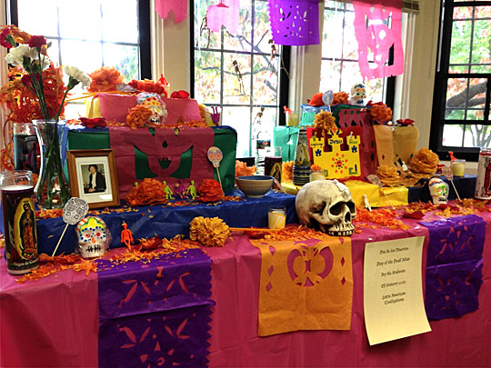 Students in Dr. Charles Beatty-Medina's Latin American History classes built this ofrenda in the History Department last year.