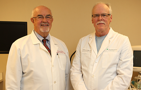 Thanks to Dr. Lance Talmage, left, and Dr. Terry Gibbs, the Menopause Clinic will be open every Wednesday from 1 to 5 p.m. in the Ruppert Health Center on The University of Toledo's Health Science Campus beginning Oct. 14.