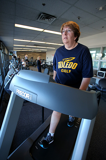 UT Women's Golf Coach Nicole Hollingsworth regularly hits the treadmill in the Cardiac Rehabilitation Center at UT Medical Center.