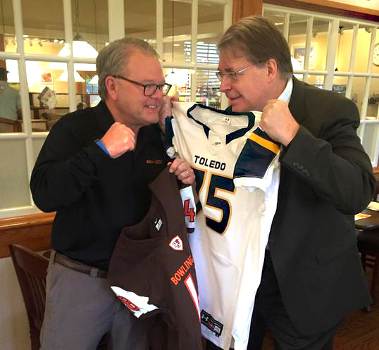 Dr. Ray Braun of Bowling Green State University, left, and Dr. Gary Insch of The University of Toledo have wagered a little bet on this year's football game.