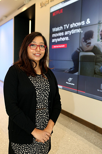 Doctoral student Monita Karmakar is investigating the effects of binge-watching on college students.