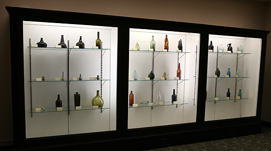 The Owens-Illinois Inc. bottle exhibit is on display on the fifth floor of Carlson Library through Friday, May 6.