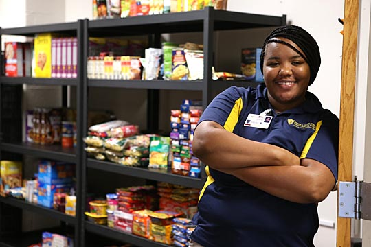 Adrienna Hutchins, a graduate assistant for the Division of Student Affairs, helped relocate the Student Food Pantry to Student Union Room 2504.