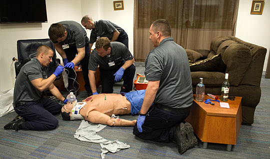 Toledo Fire and Rescue Department paramedic students administered Narcan to the simulated heroin overdose patient inside the staged apartment.