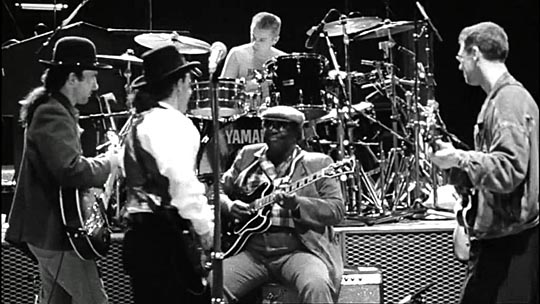 "U2 and B.B. King collaborated on ""When Love Comes to Town,"" which was featured on the band's 1988 disc and movie titled ""Rattle and Hum."""