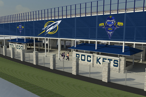 This rendering shows what the new façade on the east side of the Glass Bowl may look like.