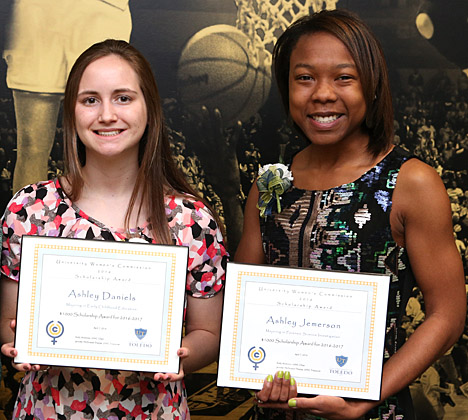 Students receiving scholarships from the University Women's Commission were Ashley Daniels, left, and Ashley Jemerson. Batool Mehdi also received a scholarship, but she was unable to attend the event.