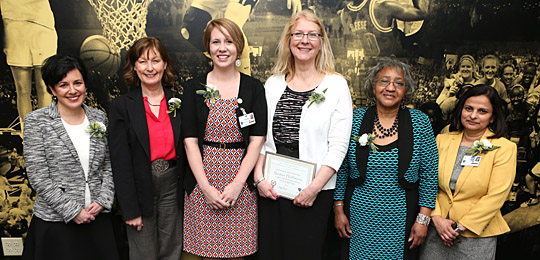 Recipients of the the Dr. Alice Skeens Outstanding Woman Award were, from left, Nicole Porter, Dr. Barbara Schneider, Sara Clark, Nadine Hoffmann, Betty Jean Sullivan and Dr. Deepa Mukundan.