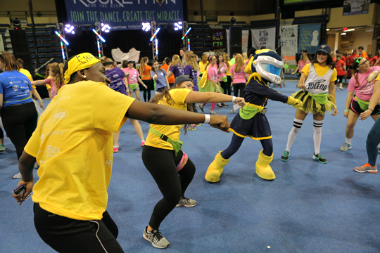 Even Rocksy got into the groove at the big dance party.