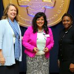 Lisa Akeman received the Diane Hymore Exemplar of Excellence Award from President Sharon L. Gaber, left, and Jovita Thomas-Williams, vice president and chief HR officer for human resources and talent development.