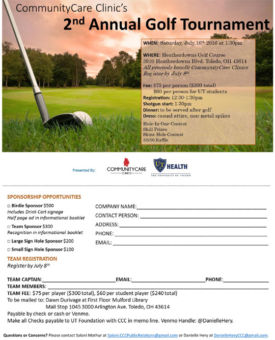 CommunityCare Clinic golf flyer