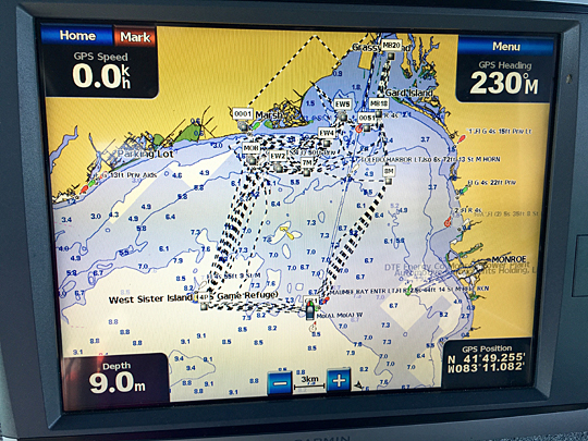 This photo of the GPS screen on board the UT research vessel showed the 40-mile diamond route on a map.
