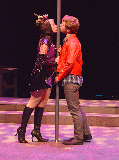 "Tori Zajac and Nolan Thomaswick rehearsed a scene from the Glacity Theatre Collective's musical, ""House of Vinyl."""