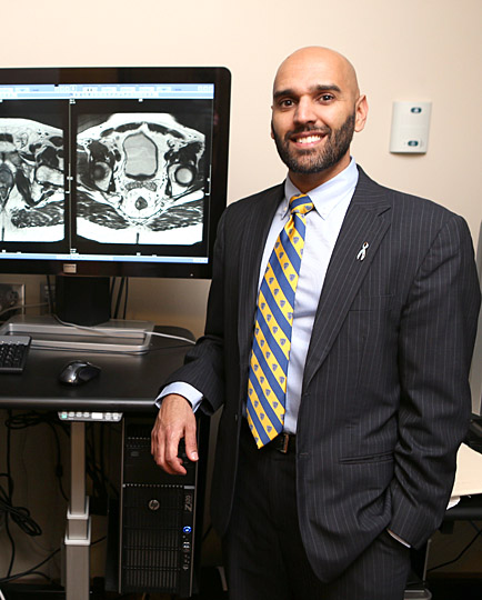 Dr. Samay Jain displayed an MRI that shows the anatomic detail of the bladder and the prostate.