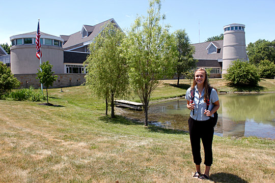 Alex Weeden, a senior at Hanover College, stood outside the Lake Erie Center, where she is spending nine weeks in the Research Experiences for Undergraduates program sponsored by the National Science Foundation.