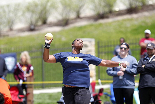 Kyesha Neal, shown here with the shot put, will throw the discus in the NCAA Outdoor Track & Field Championships.