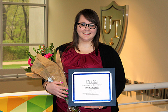 Amanda Nuckols received the Core Values Award from the  National Student Nurses' Association.