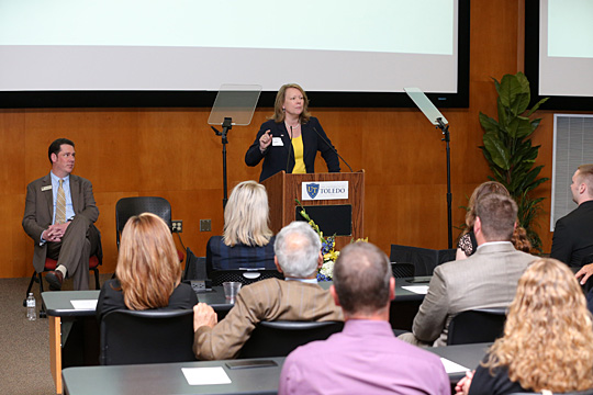President Sharon L. Gaber and Vice President for Advancement Samuel McCrimmon spoke at the annual donor recognition event in May. More than 200 University benefactors attended the event, which was held in their honor. In addition, the Frank E. Horton Presidents Club Scholarship was awarded to three students.