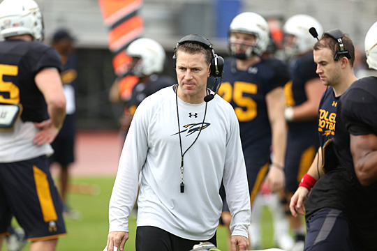 Jason Candle had 20 days to prep the Rockets for the Marmot Boca Raton Bowl after being named head coach last December. It was a debut to remember: Toledo beat No. 24 Temple, 32-17. Candle has been on the UT coaching staff since 2009.