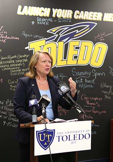 President Sharon L. Gaber talked about the Toledo Talent Keeps Toledo Great program at a press conference Aug. 1.