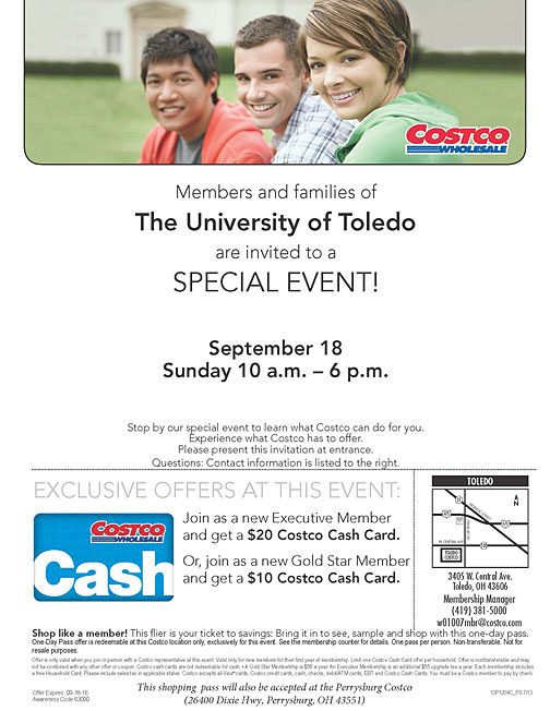 Costco UT Family Day Shopping Pass 2016 w_Perrysburg