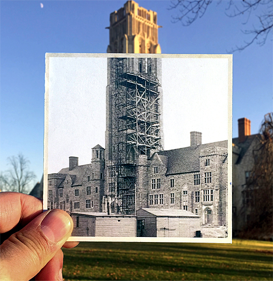 "UT's University Hall is one of nearly 100 locations featured in Ben Morales' ""Hindsight: Northwest Ohio Through the Lens of Time."""