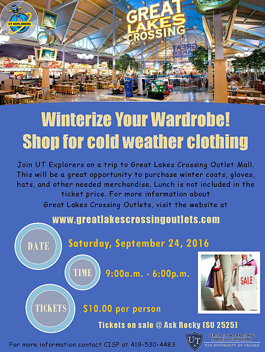 Shopping Trip to Great Lakes Crossings Flyer