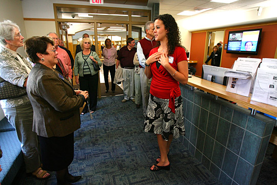 Julie Kandel, who was a senior majoring in education in 2007, right, gave a tour of Gillham Hall, the renovated home of the Judith Herb College of Education, to Judith Herb, left, and others. The state provided $12.4 million in funding for the renovation of the building, which was rededicated to the college in a special ceremony in August 2007  following the public tours.