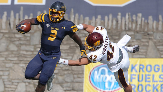 Senior running back Kareem Hunt ran for 87 yards against the Chippewas.