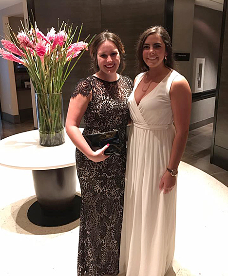 Kennedy Pierce, left, and her roommate, Ericka Castillo, a UT student majoring in nursing who is in the ROTC Program, attended the Washington Center's Gala Sept. 26.
