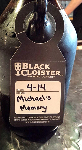 The Black Cloister Brewing Co. last year created a beer in Mike Moore's honor: Michael's Memory.