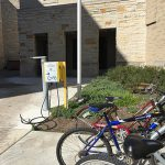 Bike riders who need to make minor repairs or air up tires can stop at three repair stations, including this one on the south side of the Student Union on Main Campus.