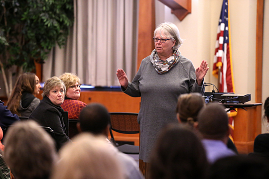 Dr. Laurie Dinnebeil, Distinguished University Professor and chair of early childhood, higher education and special education, talked to staff members at a strategic planning session last week. She is co-chair of the strategic planning committee.