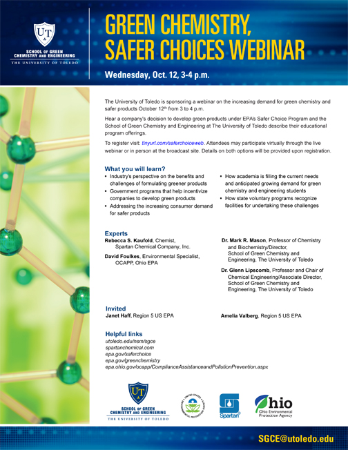 web Green Chemistry Safer Choices Webinar - Update