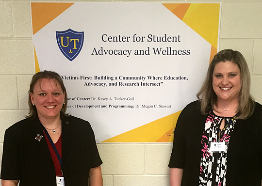 Dr. Kasey Tucker-Gail, left, and Dr. Megan Stewart of the UT Center for Student Advocacy and Wellness received a U.S. Department of Justice $299,202 grant to prevent and address sexual assault victimization on college campuses.