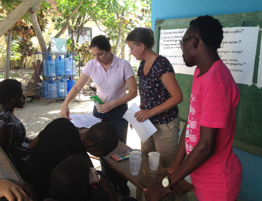 Dr. Karie Peralta, left, and Dr. Shahna Arps conducted a workshop last summer in the Dominican Republic.