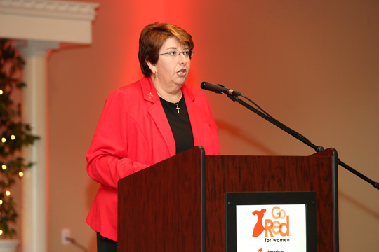 UT Women's Golf Head Coach Nicole Hollingsworth gave the keynote address at the 10th annual Go Red for Women Luncheon last November at Parkway Place in Maumee.