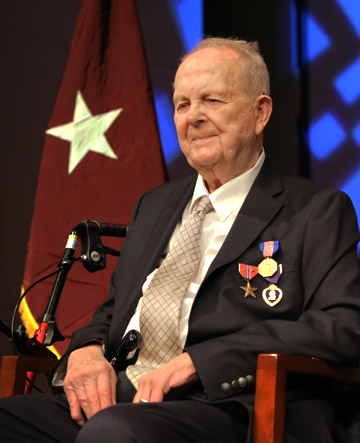 Dr. Richard R. Perry, UT professor emeritus and World War II veteran, received the Soldier's Medal last November during a ceremony in Doermann Theater.