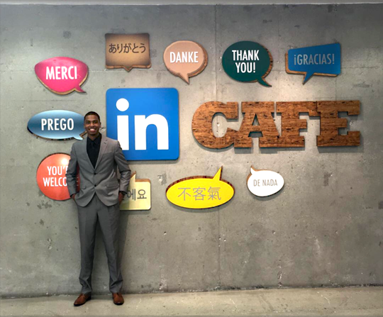 Tyrone Jacobs Jr. smiled for the camera at the LinkedIn Café during a visit in October.