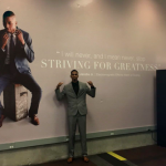 Tyrone Jacobs Jr. posed for a photo last month by his mural at LinkedIn headquarters in Mountain View, Calif.