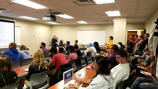 Students attended a presidential debate watch event hosted by the Department of Political Science and Public Administration.